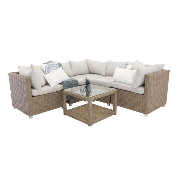 Vamos - Module sofa set 3+2+1 - Nature wicker/sand cushions