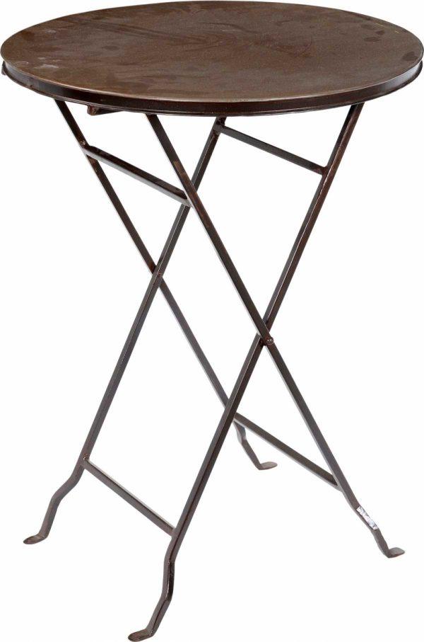 TRADEMARK LIVING cafébord - råt jern, rundt, foldbar (Ø 55)