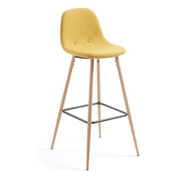 LAFORMA Nilson barstol, m. ryglæn og fodstøtte - sennepsgul stof og natur stål