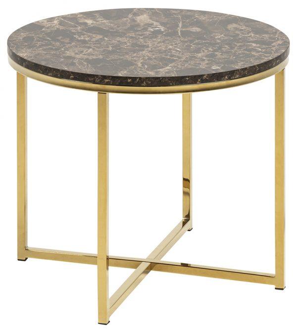 Alisma hjørnebord - brun/guld marmorpapir/metal, rund (Ø50)