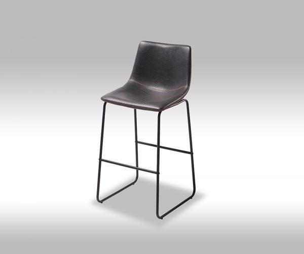 Indiana barstol - sort læder PU, sorte metalben