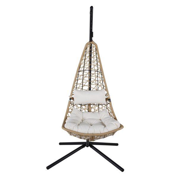 VENTURE DESIGN Edinburgh hængestol, m. hynde - hvid polyester, natur polyrattan, sort aluminium