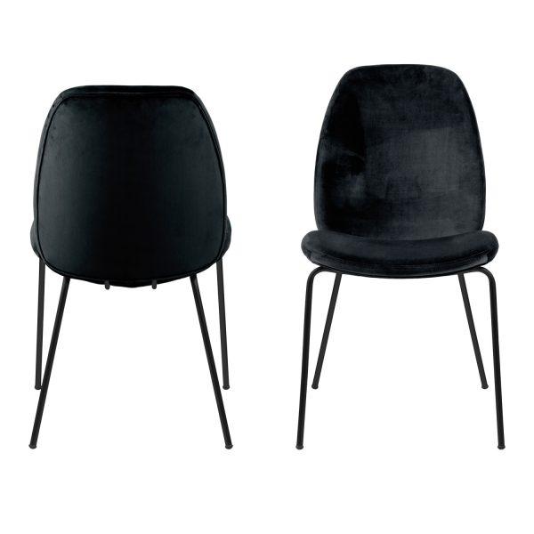 Carmen spisebordsstol - sort polyester og metal