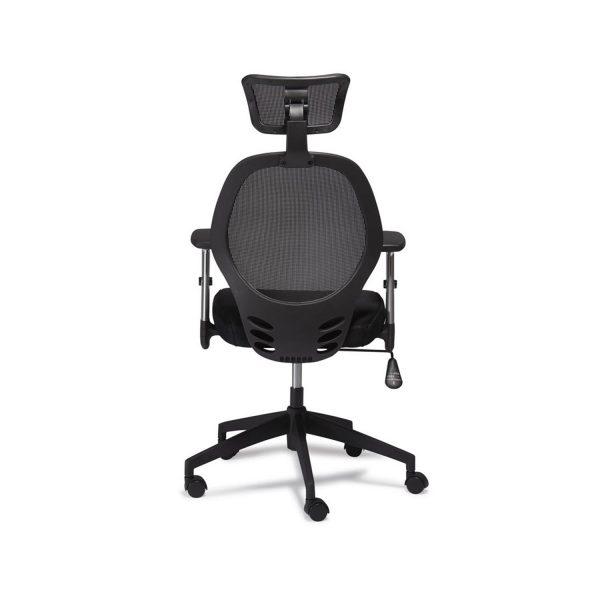 Maze kontorstol, m. armlæn og hjul - sort stof
