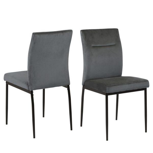 ACT NORDIC Demi spisebordsstol - mørkegrå polyester og sort metal