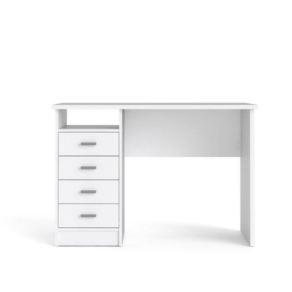 Function Plus skrivebord - hvid, m. 4 skuffer