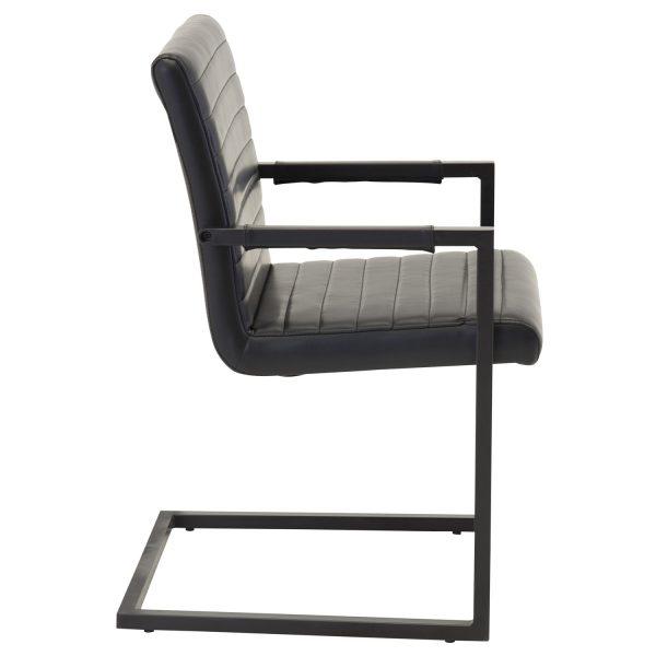 VENTURE DESIGN Art spisebordsstol, m. armlæn - sort PU og metal