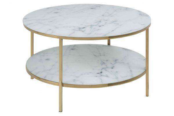 Alisma sofabord - glas m. hvid marmorprint/guld metal, rund (Ø:80)