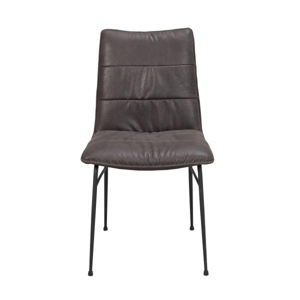 ROWICO Bayland spisebordsstol - mørkebrunt stof m. læderlook og sorte metalben