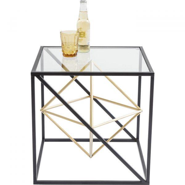 KARE DESIGN Prisma sidebord - klart glas/guld stål, kvadratisk (45x45)