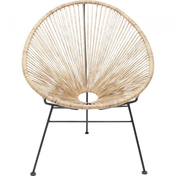 KARE DESIGN Spaghetti loungestol - natur flet og sortlakeret stål