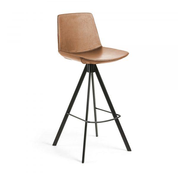 LAFORMA Zast barstol - lysebrun/sort syntetisk læder/stål