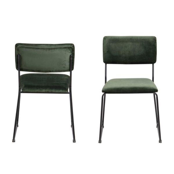 ACT NORDIC Cornelia spisebordsstol - grøn polyester og sort metal