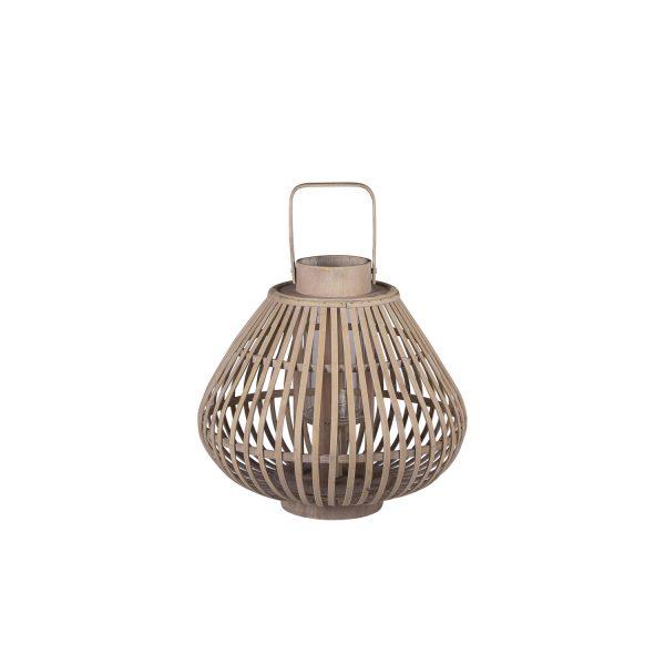 BROSTE COPENHAGEN Sahara S lanterne, rund - glas og natur bambus (Ø31,5)