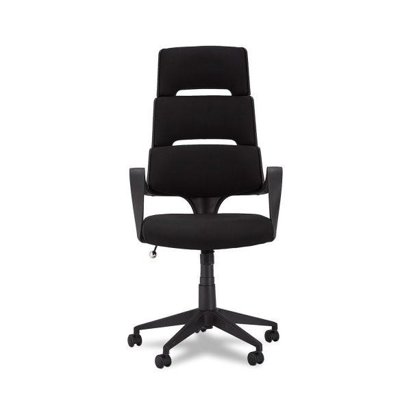 Domo kontorstol, m. armlæn og hjul - stof og sort