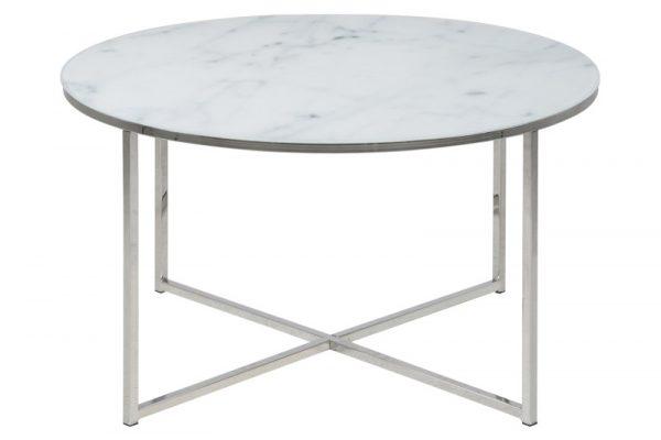 Alisma sofabord - glasplade, m. marmor print, rundt (Ø:80)