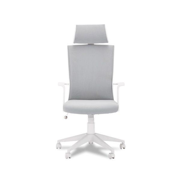 Bolero kontorstol, m. armlæn og hjul - stof og hvid
