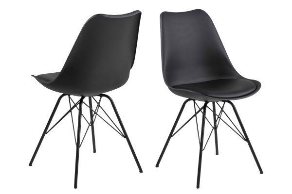 Eris spisebordsstol - sort plastik/metal, m. hynde