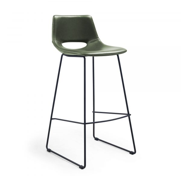 LAFORMA Ziggy barstol - grøn/sort syntetisk læder/stål