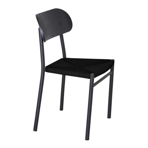 VENTURE DESIGN Polly spisebordsstol - sort træ og sort metal