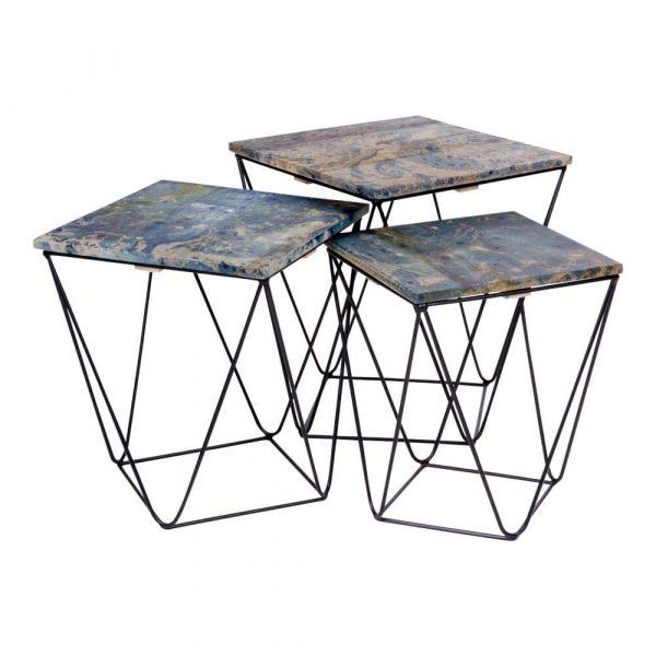 HOUSE NORDIC Ranchi hjørnebord - mangotræ m. blåt marmorlook og stål (sæt m. 3)