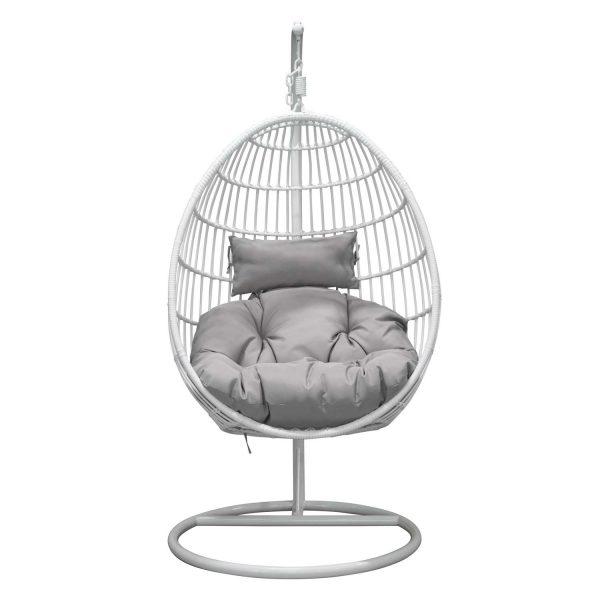 VENTURE DESIGN Viga udendørs hængestol m. grå stofhynde - hvid rattan og stål