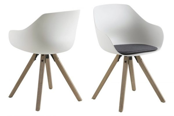 Tina spisebordsstol m. hynde - hvid/natur, plastik/gummitræ