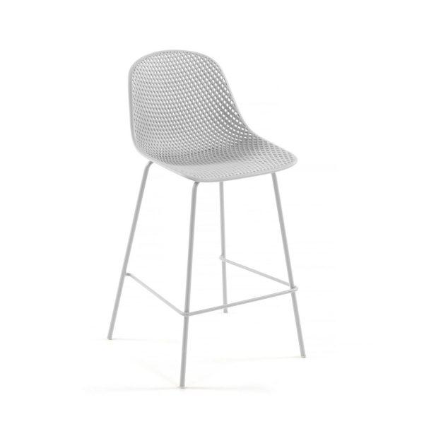 LAFORMA Quinby barstol m. ryglæn og fodstøtte - hvid plast og metal