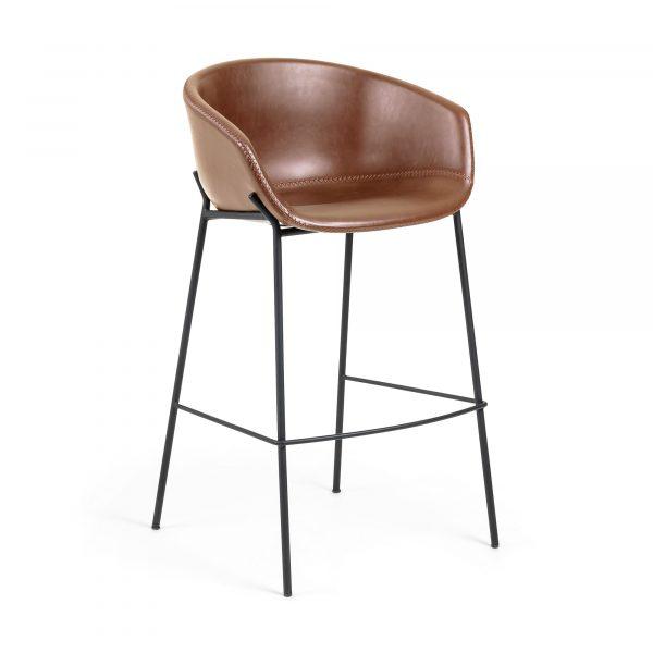 LAFORMA ZADINE barstol - lysebrun/sort syntetisk læder/stål, m. armlæn