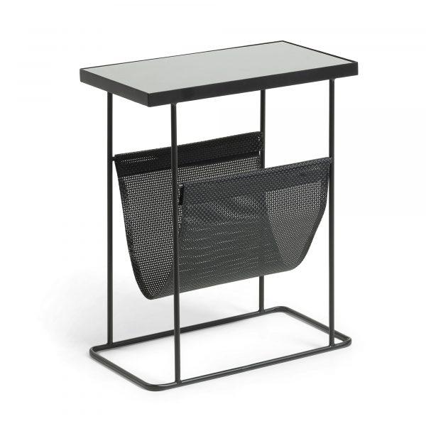 LAFORMA Vogue magasinholder - sort glas/metal, rektangulær (45x25)