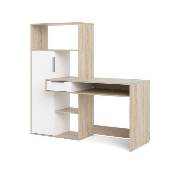 Function Plus skrivebord - egetræsstruktur/hvid, m. 1 låge og 1 skuffe