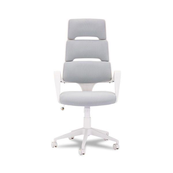 Domo kontorstol, m. armlæn og hjul - stof og hvid