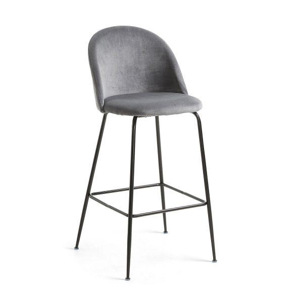 LAFORMA Mystere barstol m. ryglæn og fodstøtte - grå fløjl og sort metal