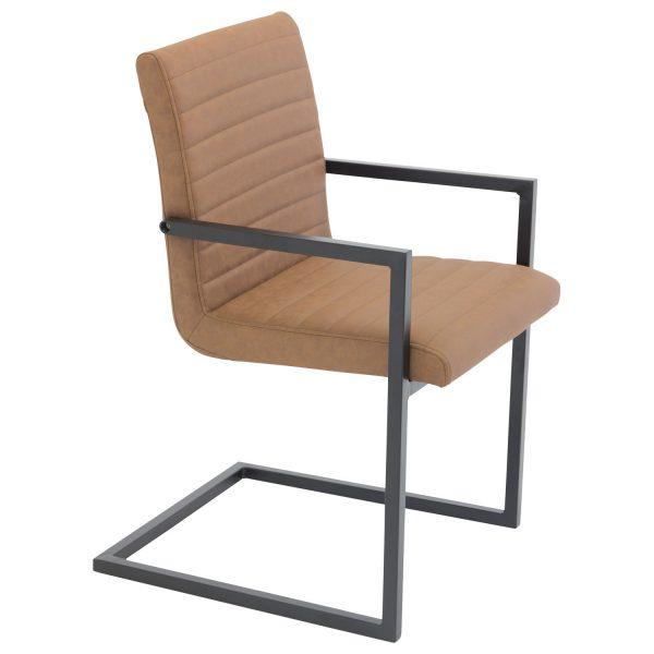 VENTURE DESIGN Art spisebordsstol, m. armlæn - brun PU og sort metal