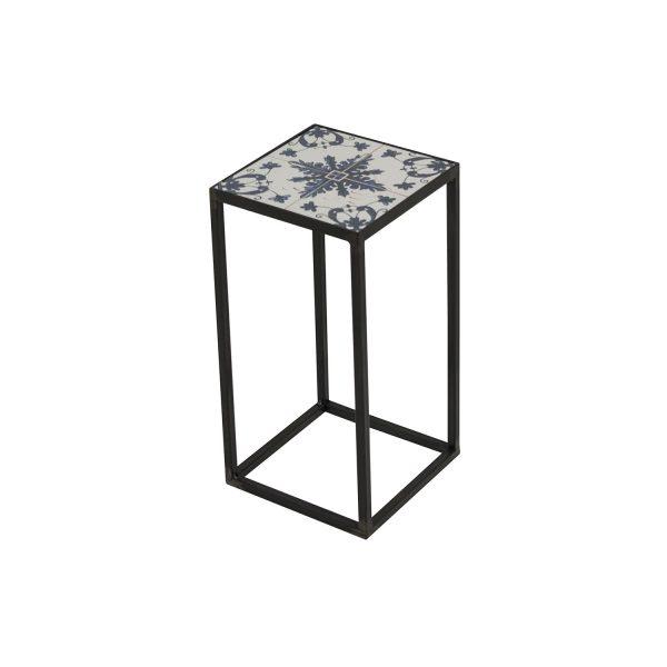 SPINDER DESIGN kvadratisk Ibiza Blacksmith hjørnebord - multifarvet keramik og stål (21x21)