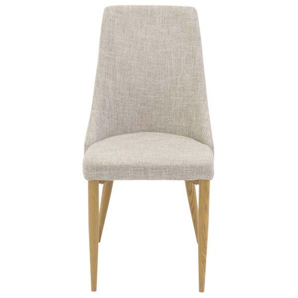 VENTURE DESIGN Leone spisebordsstol, m. armlæn - lysegrå polyester og natur metal