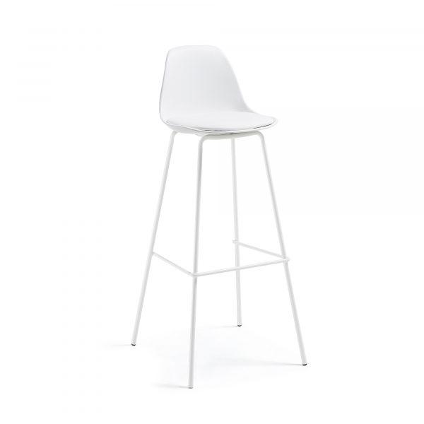 LAFORMA Lysna barstol - hvid plastik/metal/syntetisk læder
