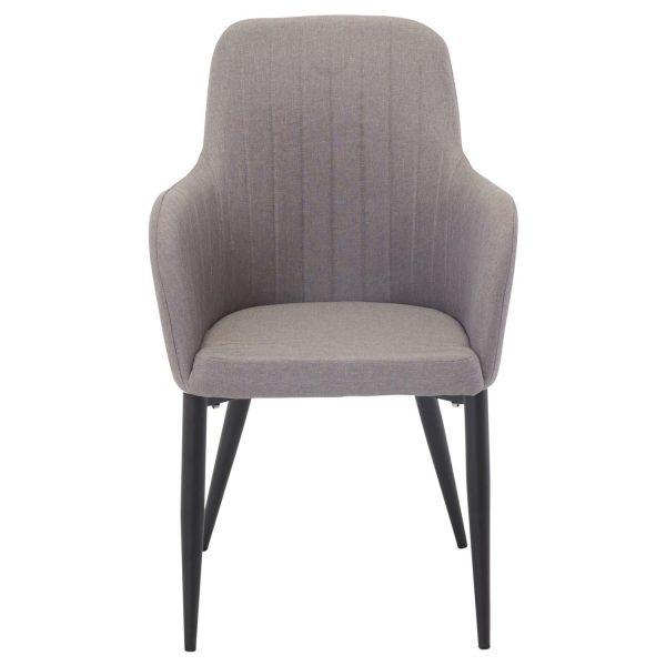 VENTURE DESIGN Comfort spisebordsstol, m. armlæn - grå polyester og og sort metal