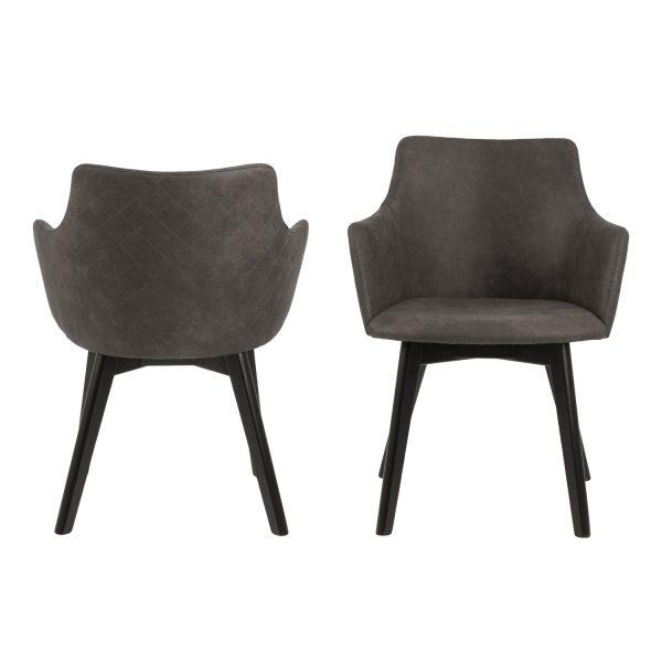 Bella spisebordsstol m. armlæn - antracitgrå stof og sort egetræ