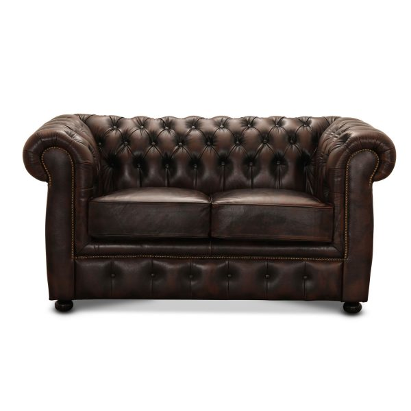 HAGA Liverpool 2. pers. chesterfield sofa - brun læder og træ