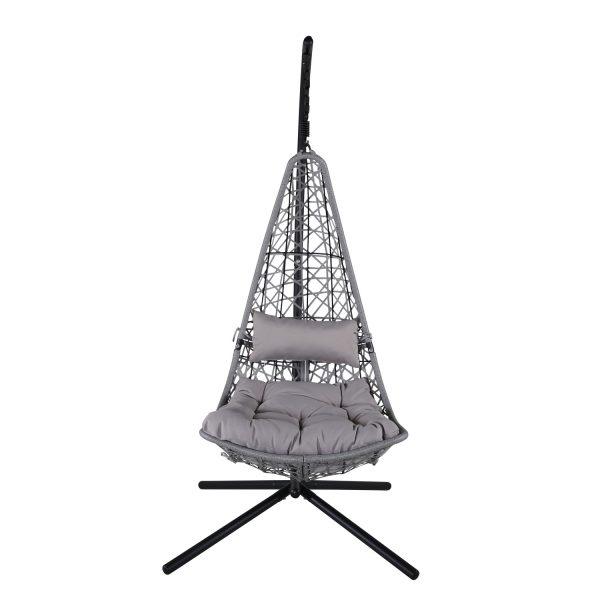 VENTURE DESIGN Edinburgh hængestol, m. hynde - grå polyester og polyrattan, sort aluminium