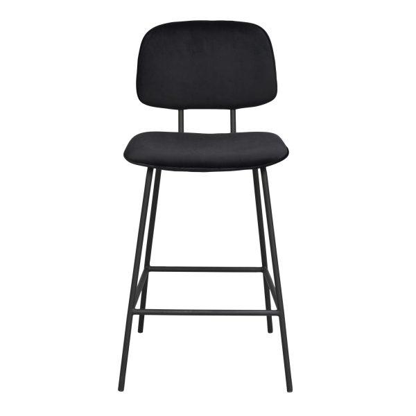 ROWICO Bryan barstol, m. ryglæn og fodstøtte - sort fløjl og sort metal