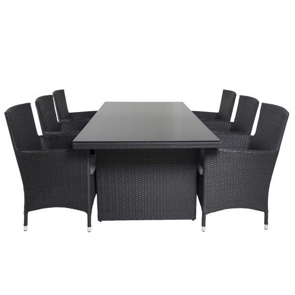 VENTURE DESIGN havesæt, m. Padova bord (200x100) og 6 Malin stole, m. armlæn - glas/flet
