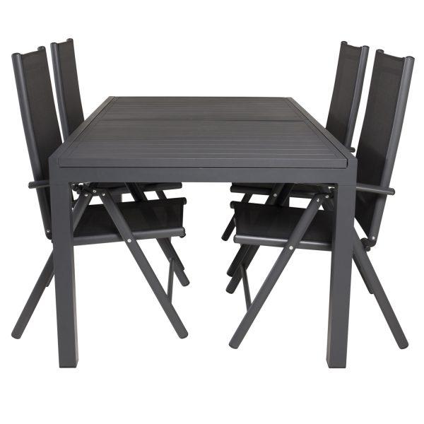 VENTURE DESIGN havesæt m. Marbella bord m. udtræk og 4 Break recliner stole - sort alu/textilene