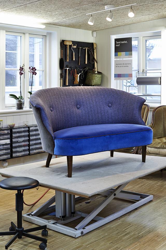 Blå loungesofa