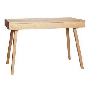 Hübsch skrivebord og reol i egetræ med tre skuffer