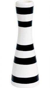 Kähler lysestage Omaggio sort hvid striber