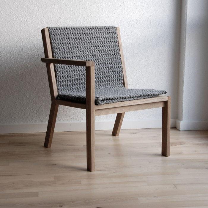 Loungestol egetræ kludetæppe