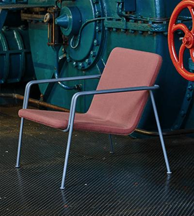 Lyserø lounge stol i stof