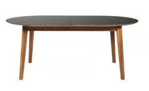 New Shape - Ovalt spisebord af eg med tillægsplade i sort